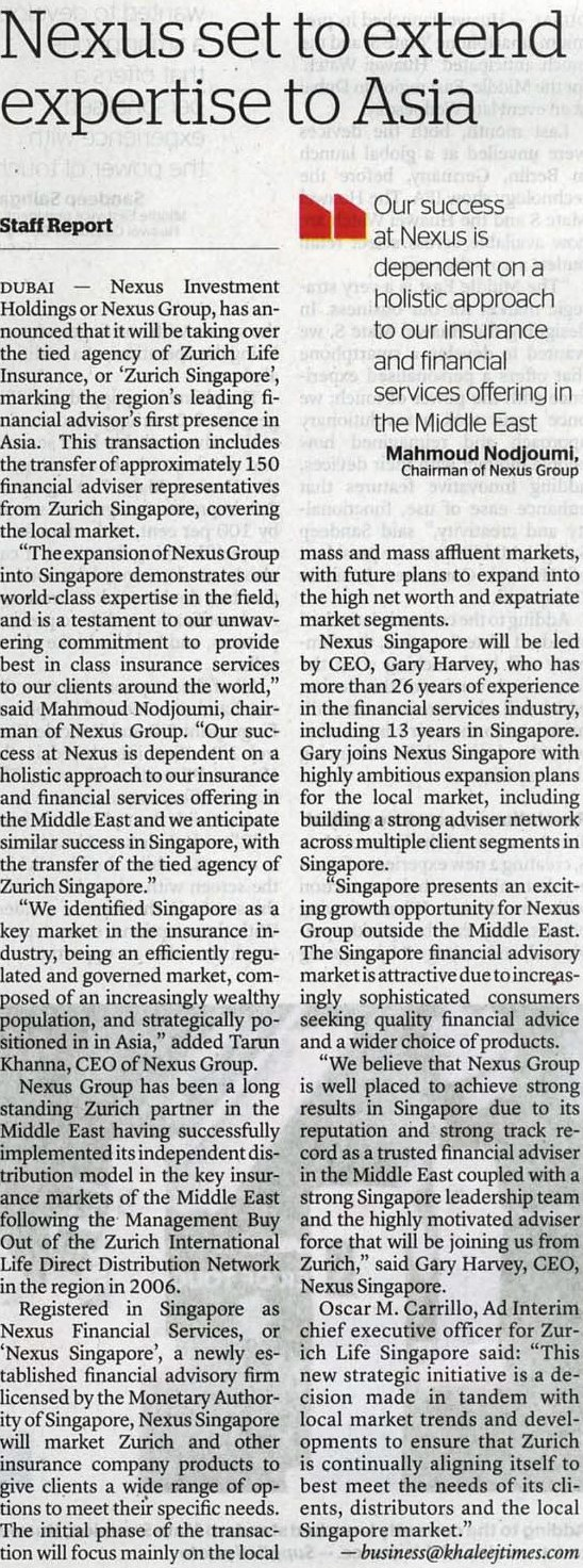 Khaleej Times - NX Set to extend expertise to Asia