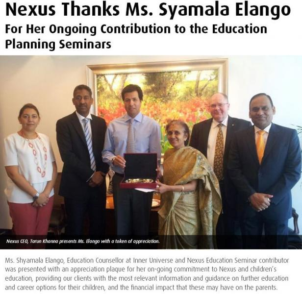 Nexus thanks Ms Syamala Elango